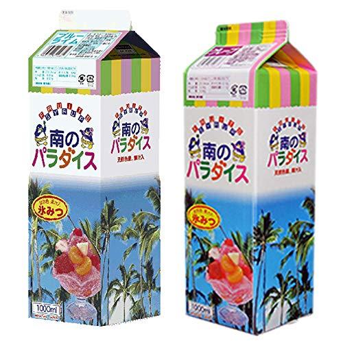 天然着色料のかき氷シロップ1L×12本セット グレープ6本+ ブルーライム6本(果汁入・保存料不使用) 業務用