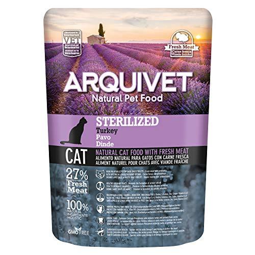 ARQUIVET - Pack 8 Bolsas Pienso Pavo Fresco para Gatos esterilizados - Comida para Gatos - Alimentos para Gatos - Comida para felinos - Cantidad: 2800 gr (350 gr x 8 Unidades)