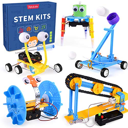 PAPERKIDDO 5 Set STEM Kit DC Motors Electronic Assembly Robotic Science Kits Conveyor,Balance Car,Reptile Robot,Mini Electric Plotter,Ball Emitter DIY Science Experiments Projects for Boys and Girls