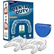 Professional Mouth Guard for Grinding Teeth- 4 Pcs, Thin Fit, Dental Moldable Night Guards for Teeth Grinding, Mouthguard Sports, Teeth Whitening Trays, Stops Bruxism, Clenching, Retainer Case.