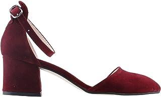 Ayakland 547-346 Günlük 5 Cm Topuk Süet Bayan Sandalet Ayakkabı BORDO