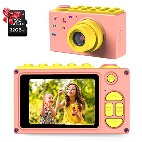 ShinePick Kinderkamera, Videokamera mit TF-Karte/Zoom Digital 4 x 8 MP / 2 Zoll LCD-Display, Kamera für Kinder (Rosa)