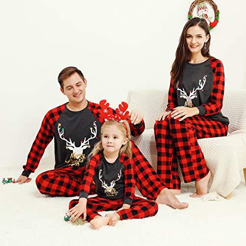 OhhGo DAD Familia Navidad coincidencia Trajes Mujer Hombres Niño Infantil Plaid Ropa de Dormir Navidad Pijamas Set M