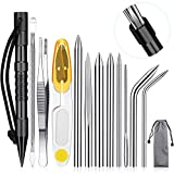 Ferraycle Knotter Tools, FID Paracord FID Set Stainless Steel Paracord Lacin Needles and Smoothing Tool for Leather or Paracord Work (Black)