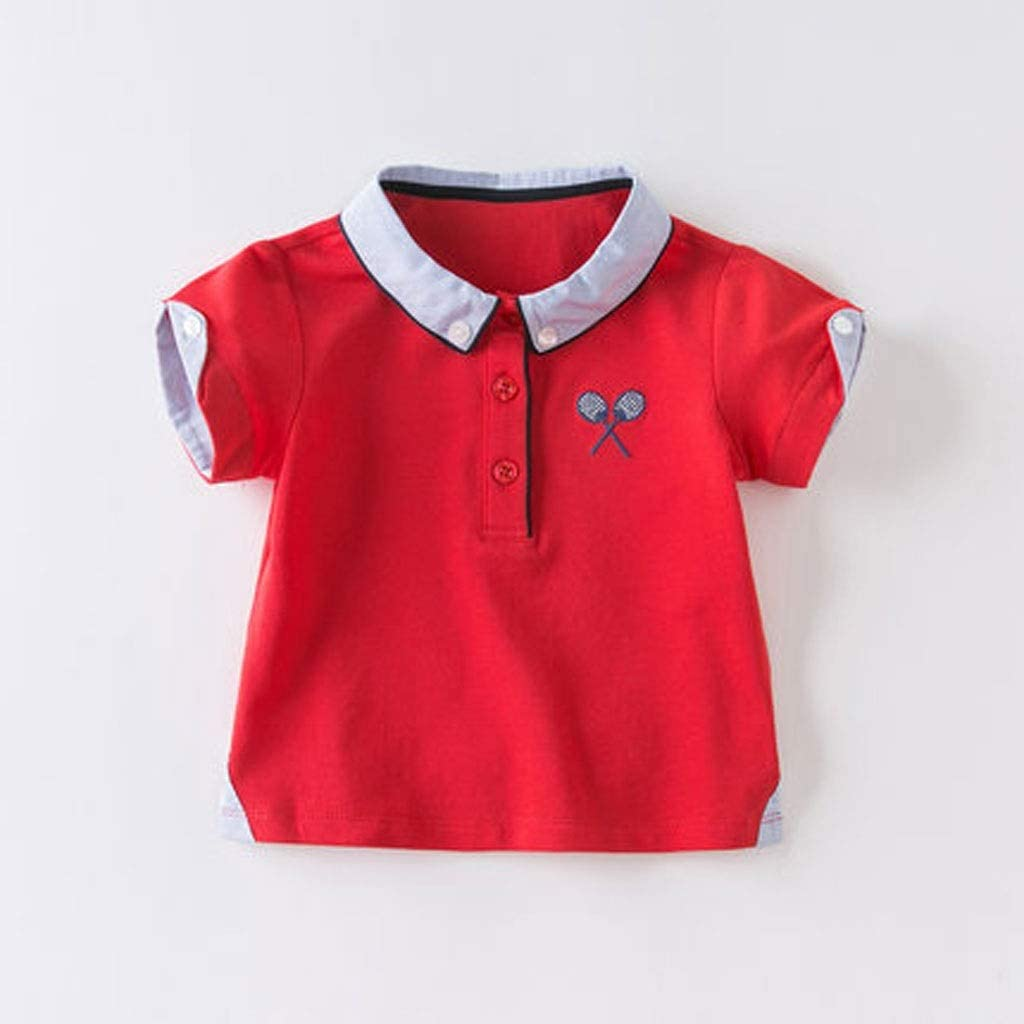 TONG Boys' T-Shirts, Kid's Clothing, Summer Clothes, New Men's Baby, Foreign Cotton Polo Shirt, Short Sleeve Top Cotton Skin-Friendly Fabric Fashion Polo Shirt Version Soft (Color : Red, Size : 73cm)