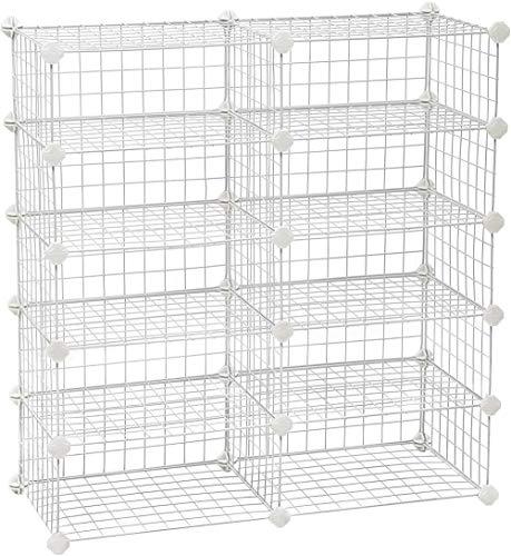 Zapatero, Organizador de Cubos rectangulares, Estante Modular, para Cada cuadrícula, Armario con Cierre de Alambre metálico, para gabinete de Entrada, Blanco-Blanco