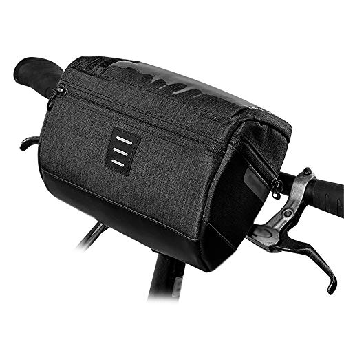 Review HANXIAODONG Waterproof Bike Phone Front Frame Bag MTB Road Bike Front Tube Pocket Pack with Phone Holder Multifunctional Cycling Bike Bicycle Handlebar Bag (Color : Black, Size : 3L)
