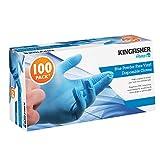 Kingfisher guantes de vinilo sin polvo, azul, tamaño mediano, 100 unidades