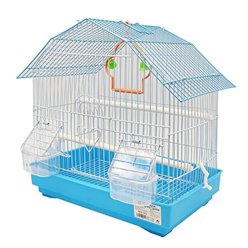 BPS BPS-1273 - Gabbia per uccelli, pappagallini, canarini, mangiatoia, abbeveratoio, altalena, per riposo, colore casuale, 34 x 23,5 x 36 cm