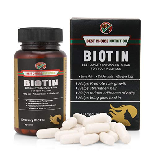 Best Choice Nutrition Biotin Maximum Strength for Beautiful Hair, Skin and Nails, Capsule 10, 000 Mcg-30 Counts