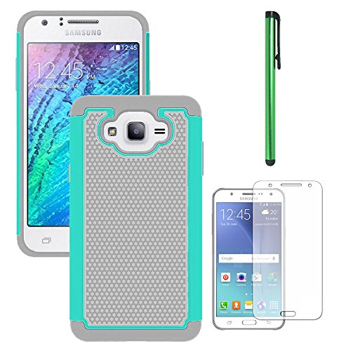 Galaxy J7 Neo J701M/J7 Nxt J701F/J7 Core J701 Case, With Screen Protector, Telegaming Dual Layer Armor Case Drop Protection TPU & Hard PC Back Cover For Samsung Galaxy J7 Neo/J7 Core Duos Teal
