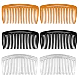 6 pcs Peignes à Cheveux, Peignes Latéraux en Plastique Décoratifs Peigne Femme Peigne Clip avec 25 Dents - Accessoires pour Cheveux Fins