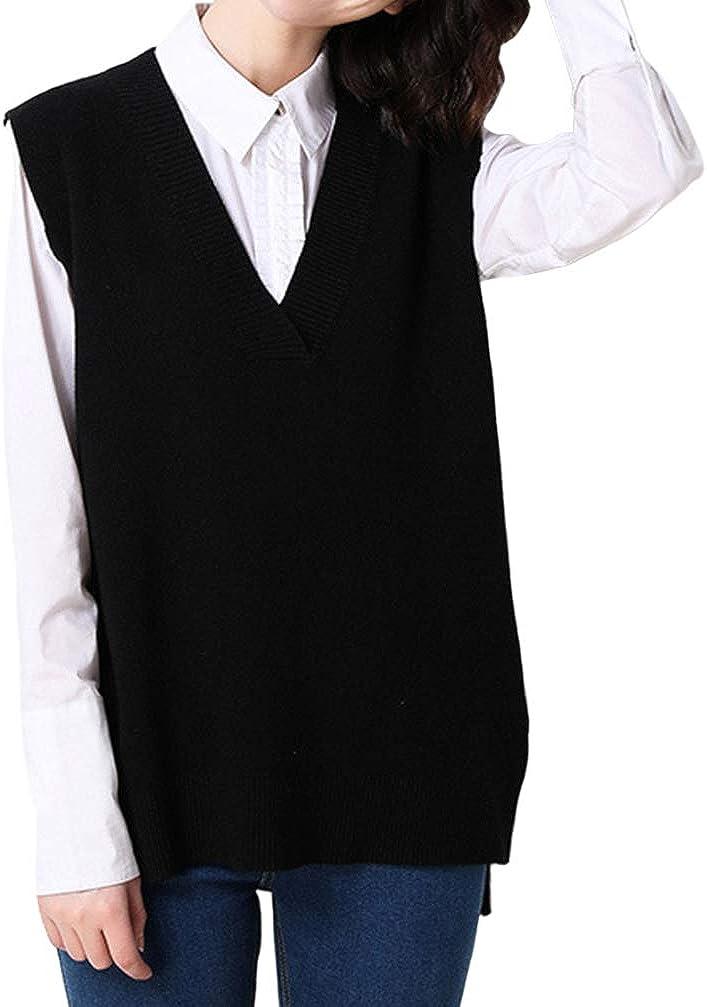 Minuoyi Women Loose V Neckline Side Slit Pullover Knitted Vest Sweater (M, Black)