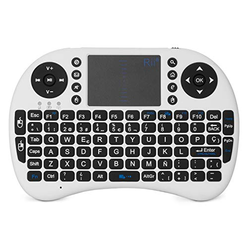 Rii Mini i8 - Teclado ergonómico con touchpad (RF 2.4 GHz, USB), color blanco