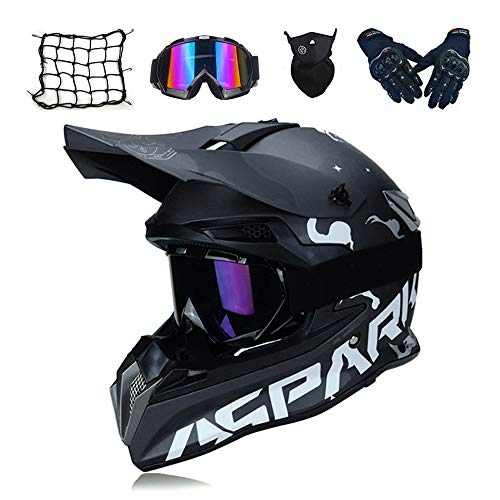 MRDEAR Motocross Helm Schwarz, Motorrad Crosshelm Set mit Brille Handschuhe Maske Motorrad Netz, Fullface MTB BMX Helm Motorradhelm Herren für Quad ATV Downhill Enduro Sport,M