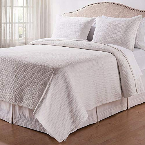 Why Choose 3 Piece Modern Contemporary White Quilt King Embroided Solid Color Geometric Floral Quilt...