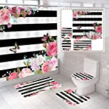 BOISTAR 4 PCS Pink Floral Shower Curtain Sets with Non-Slip Rugs,Toilet Lid Cover,Bath Mat and 12 Hooks,Shower Curtain Sets With Rugs and Accessories,Bathroom Decor Shower Curtain Sets,71'W x 71'H