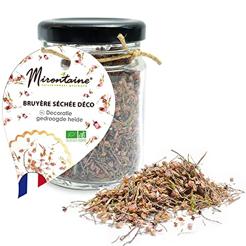 MIRONTAINE Pot Bruyère Séchée Décoration Alimentaire Bio Naturelle pour Pâtisserie Déco Fleurs Comestible & Végétale 11 g, 1 Unité