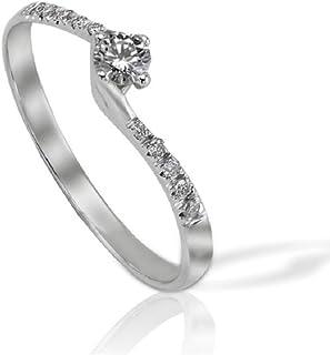 Anello Solitario Oro Bianco con diamanti laterali ct. 0,11 Prestige Gold A2