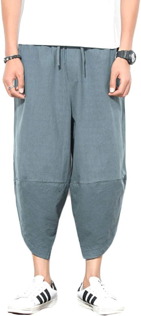 Huicai Pantalones Harem Capri De Hombre Pantalones Cortos Holgados Casuales Lounge Pantalon De Algodon Y Lino Pantalones Japoneses Salvajes Amazon Com Mx Deportes Y Aire Libre