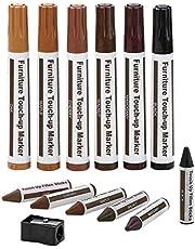 Meubelreparatieset Houten Markers - Set van 13 - Markers en Wax Sticks met puntenslijper Kit, voor vlekken, krassen, houten vloeren, tafels, bureaus, timmerlieden, bedposten, Touch Ups en Cover Ups