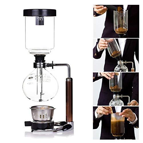 QKJZWJ 3-Cup Syphon Kaffeemaschine, Glasart Kaffeemaschine Filter Tragbare Belgien königliche Tee-Syphon-Topf für Brau- Kaffee und Tee