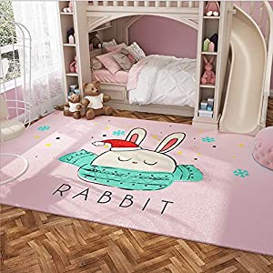 HMBBDT Child Bedroom Rugs,Delicate Cute Little Bunny Animal Pattern Bedroom Floor Rugs, Kids Living Room Carpet, Indoor Bedroom Rugs in Nursery, Dining Room, Office, Dormitory