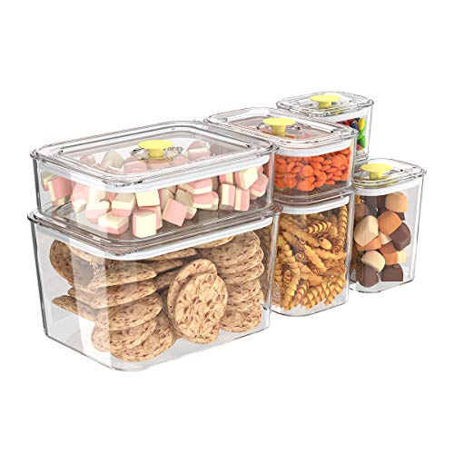Apsan Food Storage Containers with Lids Airtight,7Pcs Kitchen & Pantry Organizer Clear Plastic BPA Free
