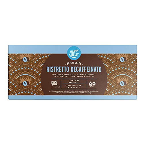 Marca Amazon - Happy Belly Ristretto Decaffeinato- Café molido de tueste natural descafeinado en cápsulas (compostables) compatibles con Nespresso, 50 cápsulas (5x10)