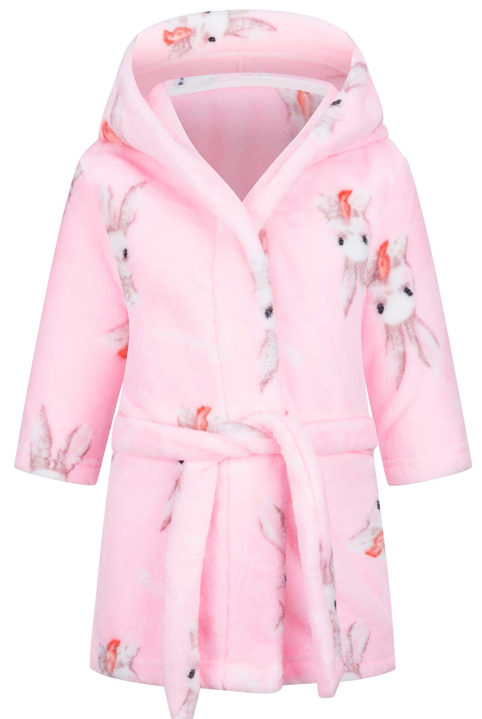 Image of Adorable Pink Hooded Bunny Rabbit Bath Robe for Girls and Toddlers