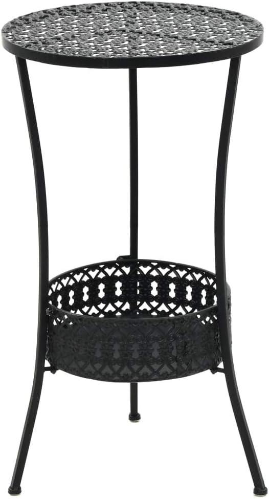 Festnight Table Bistro Plateau de Table en Verre Cannel/é Balcon Table de Jardin 40 x 70 cm Noir