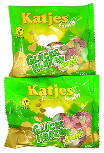Katjes Family Glücksherzen Sauer 2er Pack 2 x 300g ( 600g ) Vegane Süssigkeit