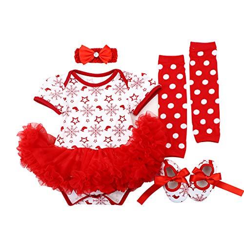 OBEEII Neonato Natale 4PCS Abbigliamento Set Pagliaccetto Tutu Gonna + Fascia + Leggings + Scarpe Principessa Vestito Christmas Alce Abito de Festa per Bambina 12-18 Mesi