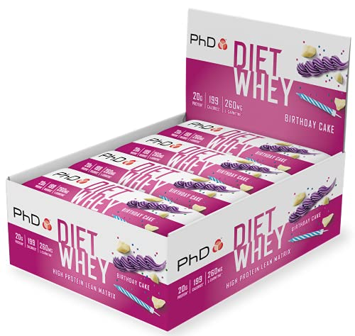 PhD Nutrition Diet Whey, High Protein Low Sugar, Birthday Cake, 12 Bars
