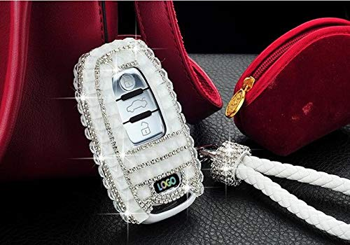 LINGZIA Regalo Diamond Car Bling Key Cover Case Holder Chain para Audi A4 S4 B7 B8 A6 A5 A7 A8 Q5 S5 S6 Q7 Smart Key Accessories, Blanco