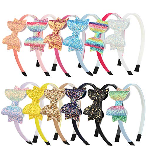 XIMA Girls Headband Sequin Glitter BowsHairband Hair Accessories Children Lovely Hair Bands Back to School Bow Headbands Pack of 12
