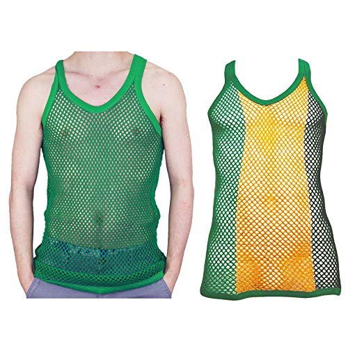 Itzu 100% Cotton Rasta Striped String Vest Mesh Fishnet Fitted (Stripe Green/Plain Green (2 Pack) - M)