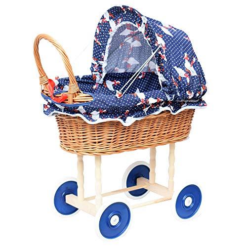 Puppenwagen aus Weide Holz Weidenwagen Kinderwagen Weidenpuppenwagen Verschieden Motive (DUNKELBLAU | mit Gänschen)