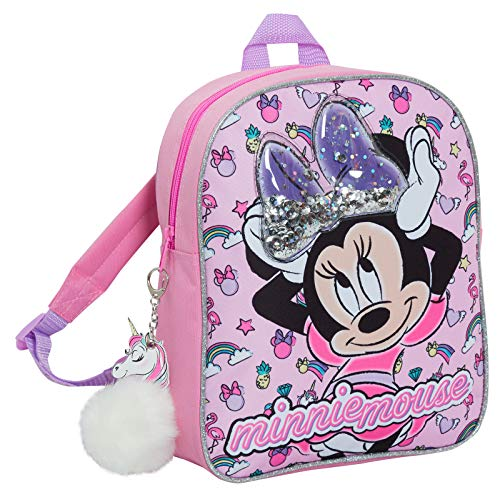 Disney Minnie Mouse Girls Backpack with Glitter Sequin Bow Kids School...