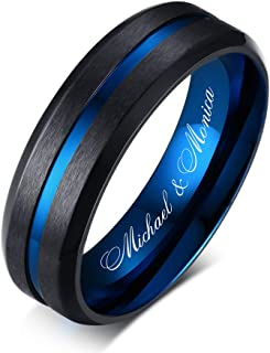6mm Stainless Steel Two-Tone Blue and Black Center Groove Brushed Customized Name Wedding Ring Band for Men