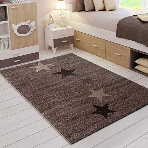VIMODA Teppich Modern Jugendstil Braun Beige Kurzflor Stern Muster - Pflegeleicht und Top Qualität, Maße:120x170 cm