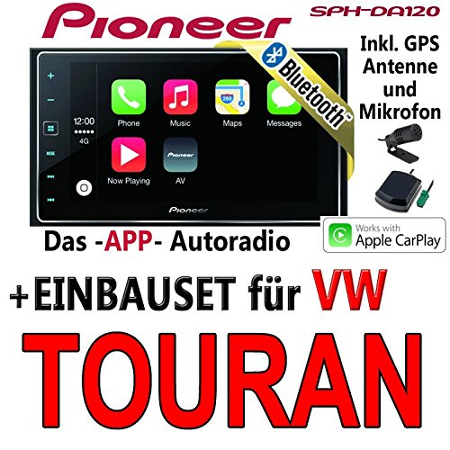 Pioneer SPH-DA120-2DIN USB Bluetooth Apple CarPlay Autoradio - Einbauset für Audi A4 B7 - JUST SOUND best choice for caraudio