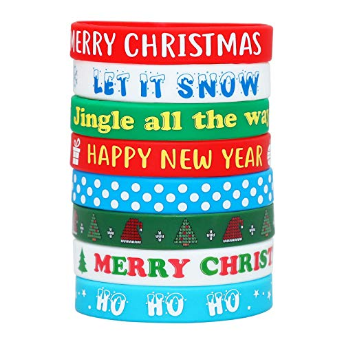 Christmas Bracelets Wristbands Party Favors - Xmas Holiday Goodie Bag Gifts Stocking Stuffers Supplies 32Ct