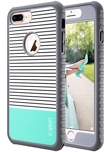 ULAK iPhone 8 Plus Case, Slim Shockproof TPU Bumper Case with Front Frame, Durable Anti-Slip Protective Phone Cover for iPhone 8 Plus, Mint Stripes Minimal