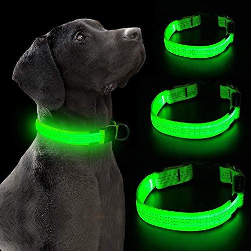 Iseen LED-Hundehalsband, Micro-USB, aufladbar, 3 reflektierende Drähte, sicheres Aufleuchten, verstellbar, weiches Nylon-Gurtband für kleine, mittelgroße und große Hunde