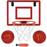 "Indoor Mini Basketball Hoop and Balls 16 'x12"" Board Hoop Game Set for Door and Wall Mount with Complete Accessories Basketball Toy Gifts for Kids and Adults"