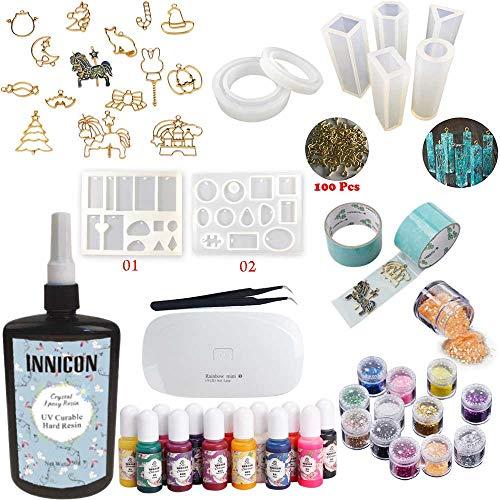 INNICON Kit de décoration en résine époxy transparente 9 moules en silicone 12 accessoires Brille 13 pigments Mini UV/LED Pinces de lampe pour bricolage Bijoux Kit de démarrage 250 g