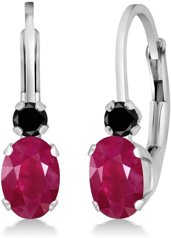 1.27 Ct Oval Red Ruby Black Diamond 14K White gold Earrings