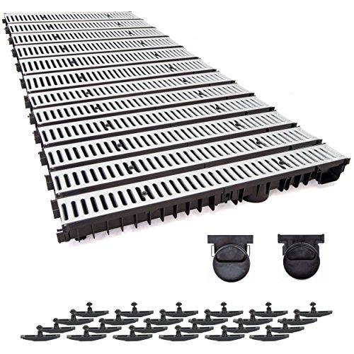 12m Entwässerungsrinne mit Dichtung Tiefe: 100 mm. Belastungsklasse A15. Stahlrost verzink.