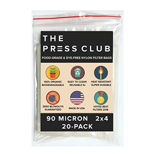 Find Bargain 90 Micron Premium Nylon Tea Filter Press Screen Bags, 2 x 4 Inch, 20 Pack, Zero Blowout Guarantee, All Micron & Sizes Available